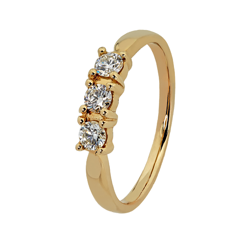 9kt Yellow Gold 3 StoneDiamond Trilogy Ring (0.20ct)