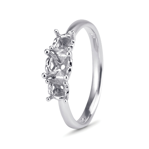 9kt White Gold Trinity Ring with Heart Cut out Claws Mount (Suitable for 0.50ct Stone)