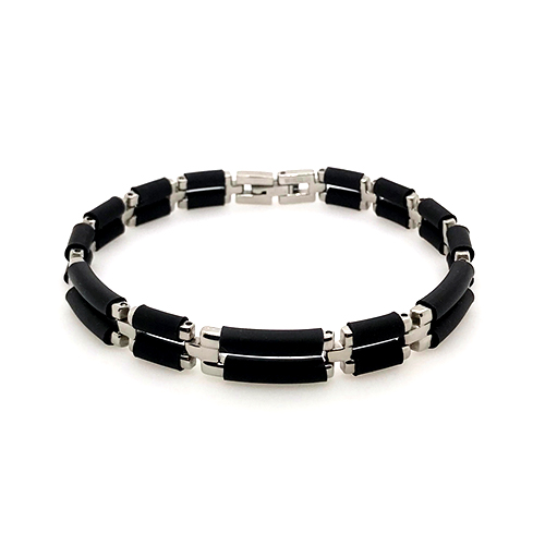 Stainless Steel & Black Rubber Bracelet