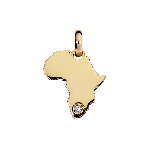 14kt Yellow Gold Mini Amara Africa Map Pendant (W12 x H13.4)