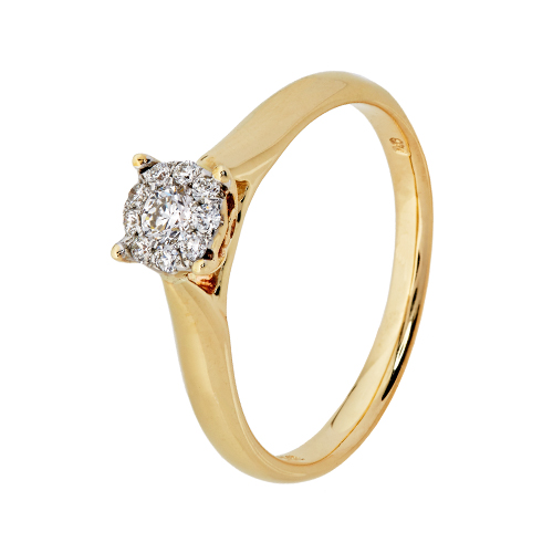 9kt Yellow Gold Aura Illusion Set Diamond Ring (0.18ct)