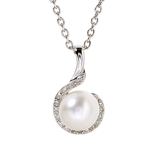 9Kt White Gold Diamond & White Fresh Water Pearl Pendant (0.05ct)