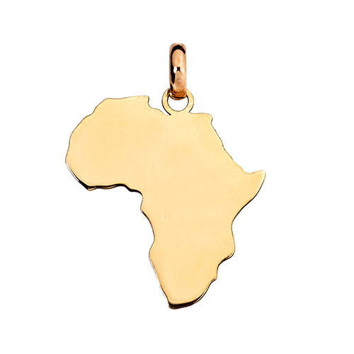 14kt Yellow Gold Amara Africa Map (W18 x H20.7)