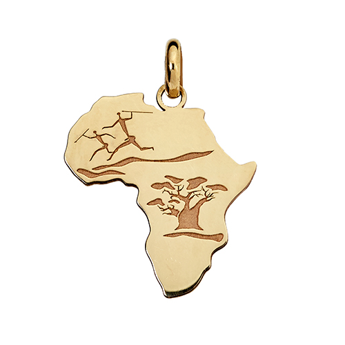 14kt Yellow Gold Amara Africa Bushmen & Baobab Tree Map (W18 x H20.6)