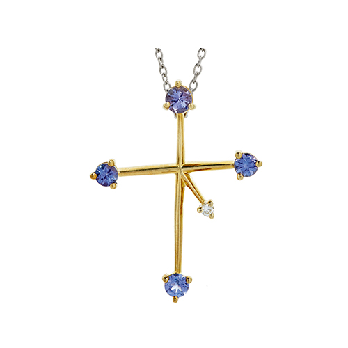 9kt Yellow Gold Tanzanite Southern Cross (1 x 3mm, 3 x 3mm)