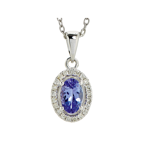 9kt White Gold Oval Tanzanite & Diamond Pendant (T0.45ct;D0.08ct)