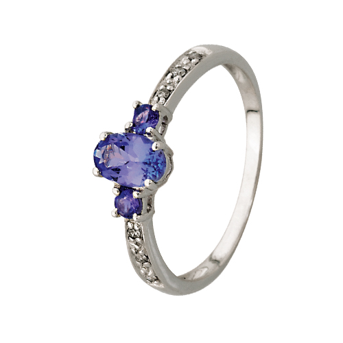 9kt White Gold Oval Tanzanite 3 Stone & Diamond Ring (T0.60ct;D0.04ct)