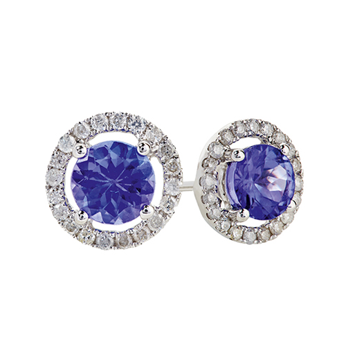 9kt White Gold Round Tanzanite & Diamond Studs