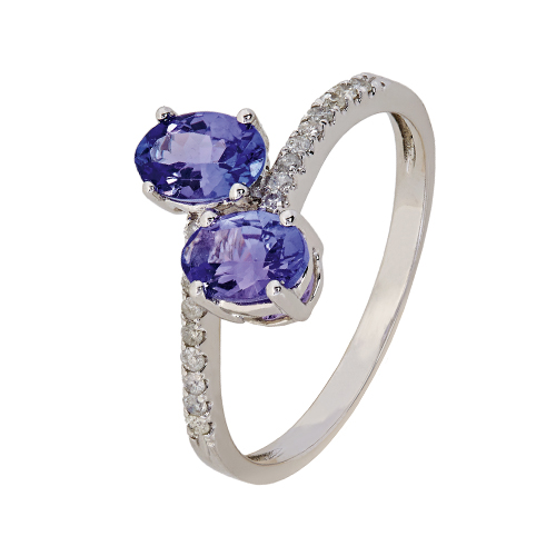 9kt White Gold Tanzanite & Diamond Crossover Ring (T1.00ct;D0.11ct)