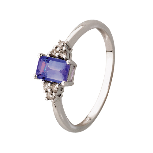 9kt White Gold Baguette Tanzanite Diamond Ring (T0.57ct,D0.09ct)