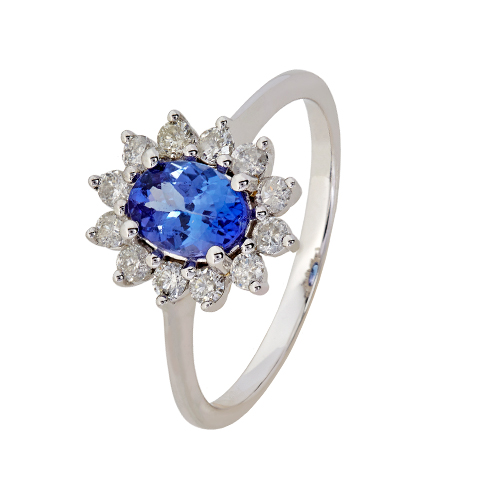 9kt White Gold Tanzanite & Diamond Cluster Ring (T0.95ct;D0.37ct)