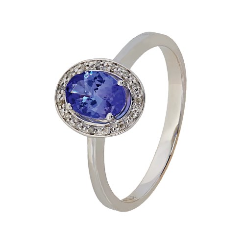 9Kt White Gold Oval Tanzanite & Diamond Ring (T0.35ct;D0.03ct)