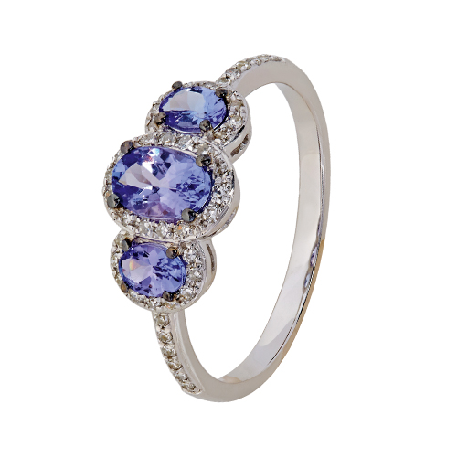9kt White Gold Diamond & Tanzanite Trilogy Ring (T0.96c, D0.17ct)