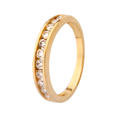9kt Yellow Gold Diamond Channel Set Half Eternity Ring (0.20ct)
