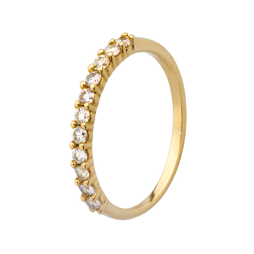 9kt Yellow Gold Diamond Claw Set Half Eternity Ring (0.10ct)