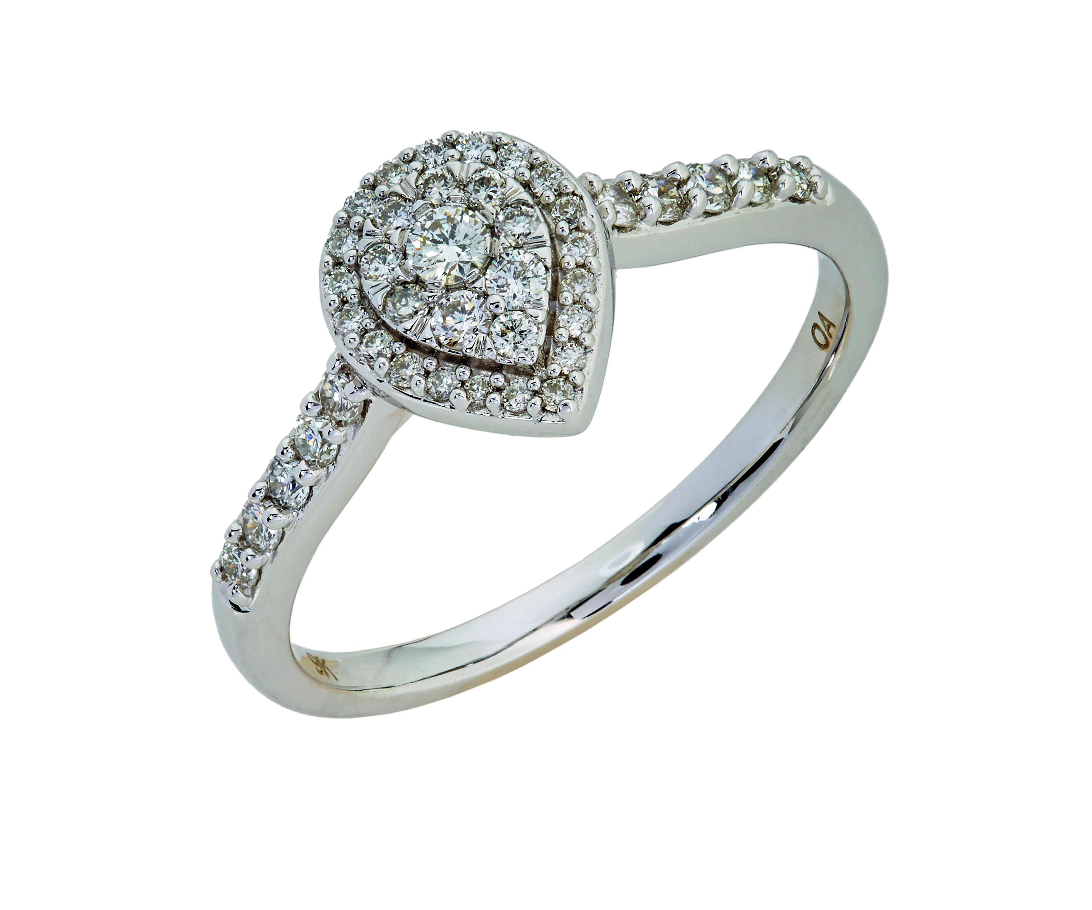 9kt White Gold Pear Diamond Ring (0.32ct)