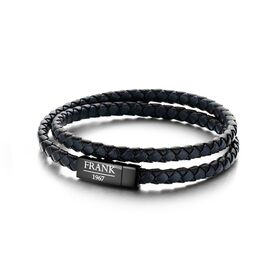 Stainless Steel Black/Navy Braided Double Bracelet (42cm)