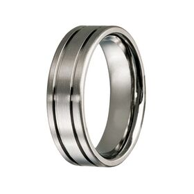 Titanium Double Groove Wedding Ring (7mm)