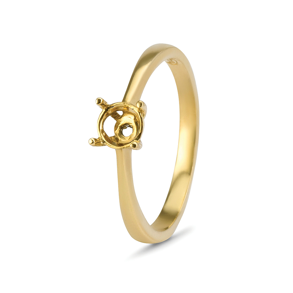 18kt Yellow Gold 4 Claw Ring Mounts - Suitable for 3.5mm Stones
