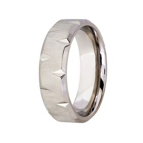 Titanium with Cut Out Design on Edge Wedding Band (7mm)